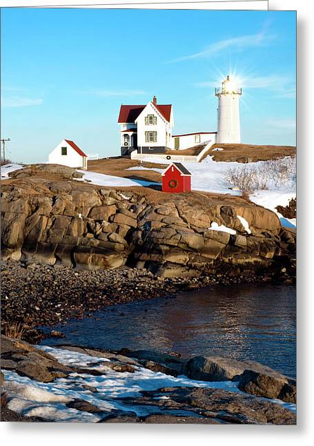 Cape Neddick Lighthouse Greeting Cards - Nubble Sun Burst Greeting Card by Greg Fortier