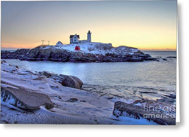Cape Neddick Greeting Cards - Nubble Sunrise Greeting Card by Susan Cole Kelly