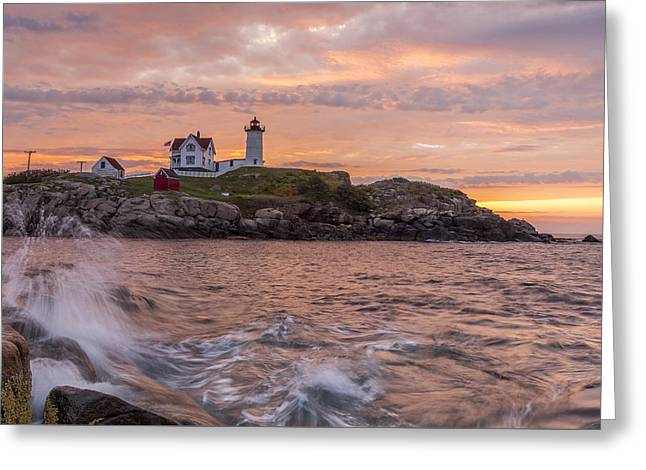 Recently Sold -  - Maine Lighthouses Greeting Cards - Nubble Sunrise Greeting Card by Tony Baldasaro