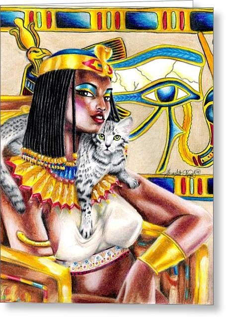 Recently Sold -  - Horus Greeting Cards - Nubian Queen Greeting Card by Scarlett Royal