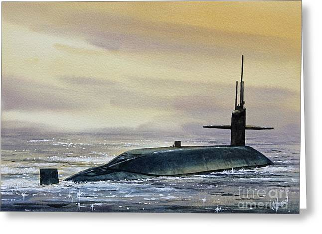 Maritime Framed Print Greeting Cards - Nuclear Submarine Greeting Card by James Williamson