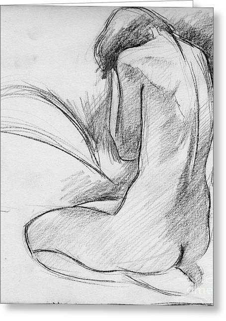 Figurative Drawing Greeting Cards - Nude 002 Greeting Card by Edward Henrion