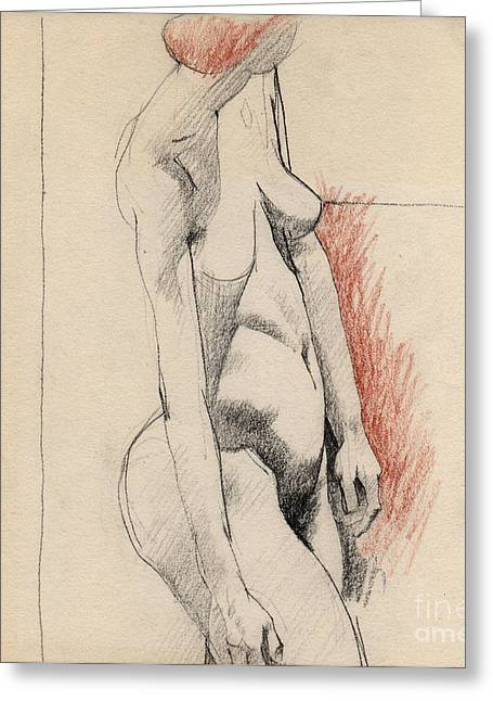 Figure Drawing Greeting Cards - Nude 005 Greeting Card by Edward Henrion