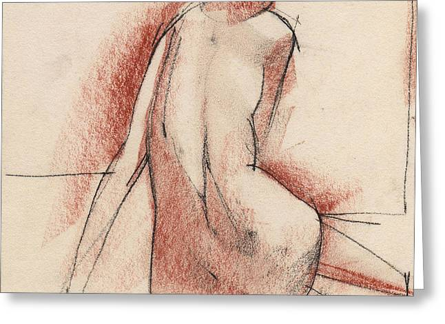 Figurative Drawing Greeting Cards - Nude 010 Greeting Card by Edward Henrion