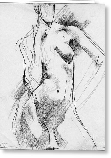 Figurative Drawing Greeting Cards - Nude 016 Greeting Card by Edward Henrion