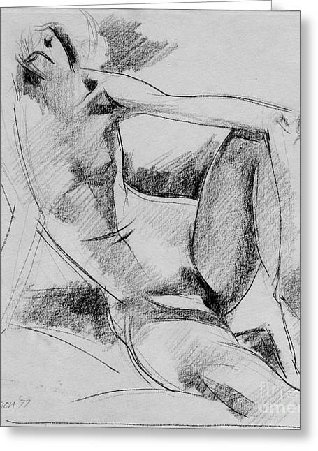 Figurative Drawing Drawings Greeting Cards - Nude 018 Greeting Card by Edward Henrion