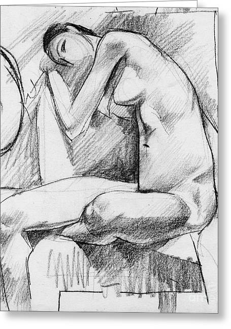 Figurative Drawing Drawings Greeting Cards - Nude 019 Greeting Card by Edward Henrion