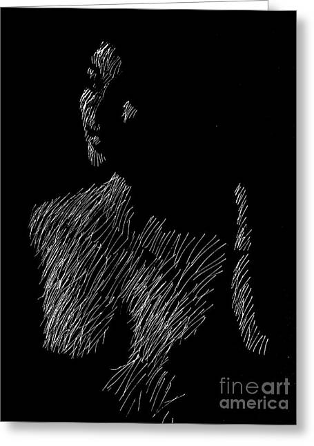 Pen And Ink Drawing Greeting Cards - Nude 1435 Greeting Card by George Hobbs
