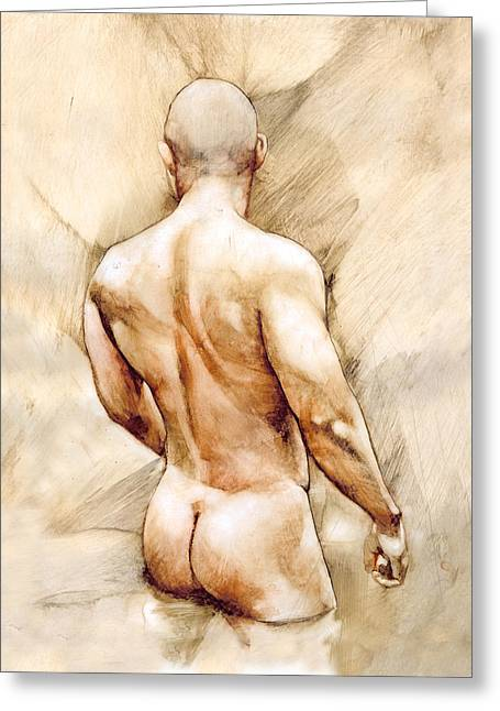 Man Greeting Cards - Nude 40  Greeting Card by Chris  Lopez