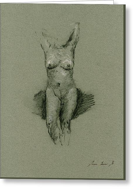 Nude Drawings Greeting Cards - Nude art print drawing Greeting Card by Juan  Bosco