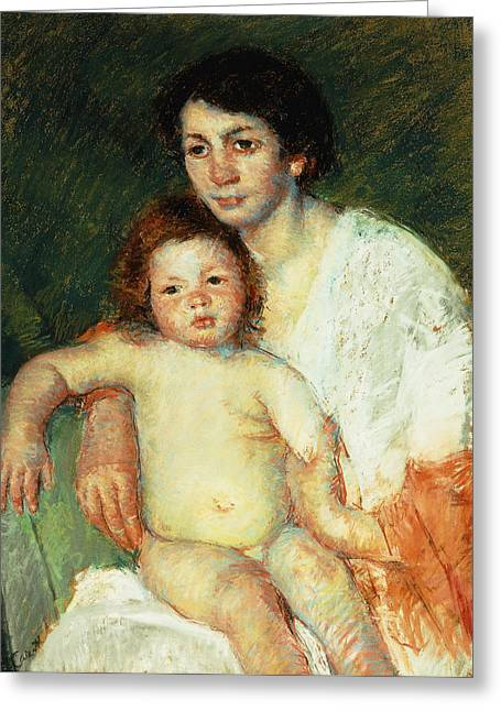 Nude Baby On Mother's Lap Resting Her Right Arm On The Back Of The Chair Greeting Card by Mary Stevenson Cassatt