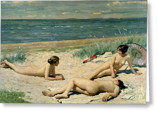 Beach Towel Greeting Cards - Nude bathers on the beach Greeting Card by Paul Fischer