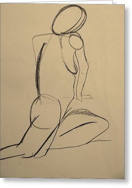 Nude Drawing 2 Greeting Card by Kathleen Fitzpatrick