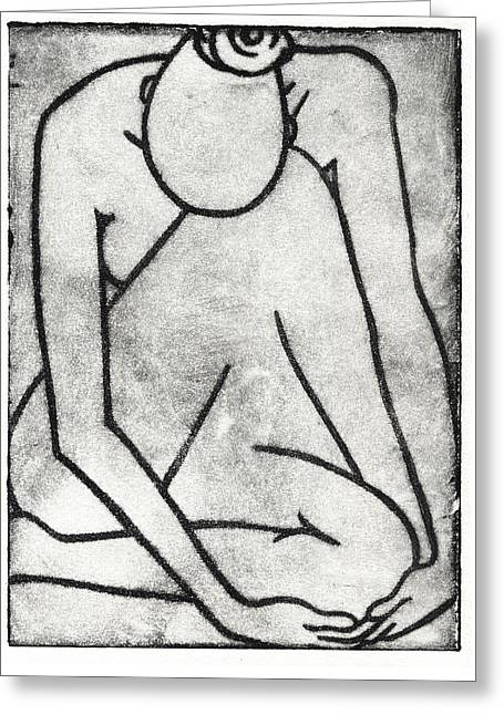 Drypoint Greeting Cards - Nude - Drypoint Greeting Card by Liz Hoenstine