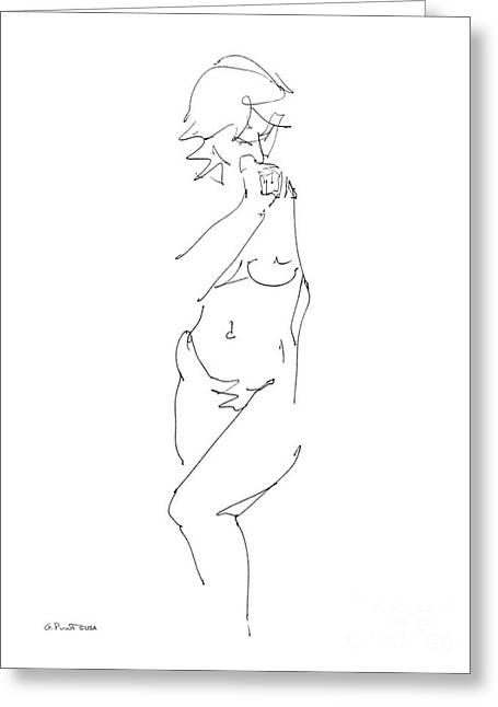 Gordon Punt Greeting Cards - Nude Female Drawings 18 Greeting Card by Gordon Punt