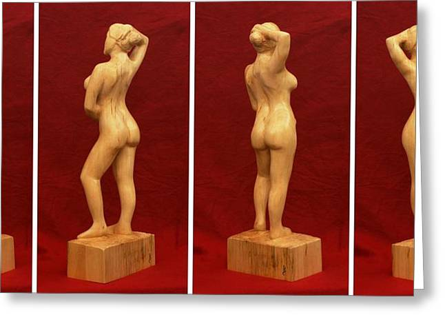Standing Sculptures Greeting Cards - Nude Female Impressionistic Wood Sculpture Donna Greeting Card by Mike Burton