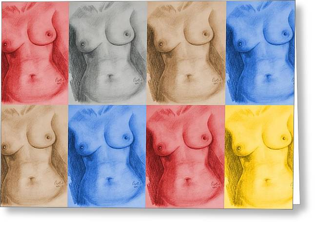 Full Body Drawings Greeting Cards - Nude Female Torso - PPSFN-0002-Montage-03 Greeting Card by Pat Bullen-Whatling