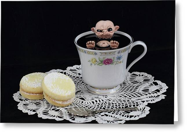 Print Sculptures Greeting Cards - Nude Imp bathing in a teacup Greeting Card by Michael Palmer