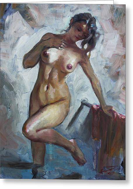 Showers Greeting Cards - Nude in Shower Greeting Card by Ylli Haruni