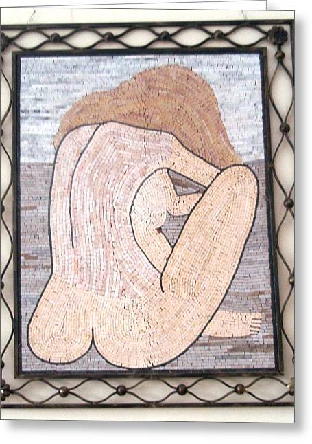 Mosaic Reliefs Greeting Cards - Nude in stone mosaic Greeting Card by Petrit Metohu