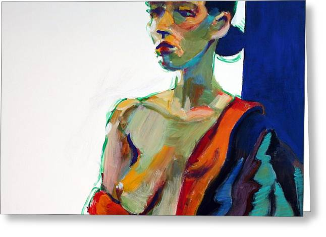 Nude Female Greeting Cards - Nude-J Greeting Card by Piotr Antonow