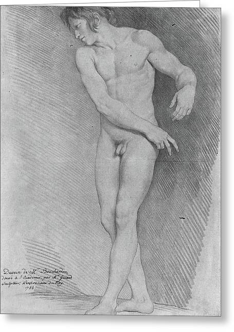 Nude Looking Down To The Left Greeting Card by Edme Bouchardon