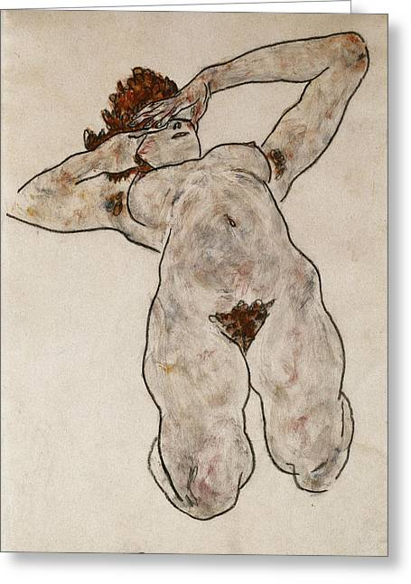 Charcoal Paintings Greeting Cards - Nude Lying Down Greeting Card by Egon Schiele