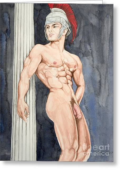 Art Of Muscle Greeting Cards - Nude male Spartan Greeting Card by The Artist Dana