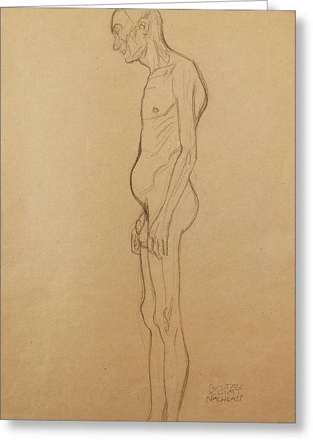 Stomach Greeting Cards - Nude Man Greeting Card by Gustav Klimt