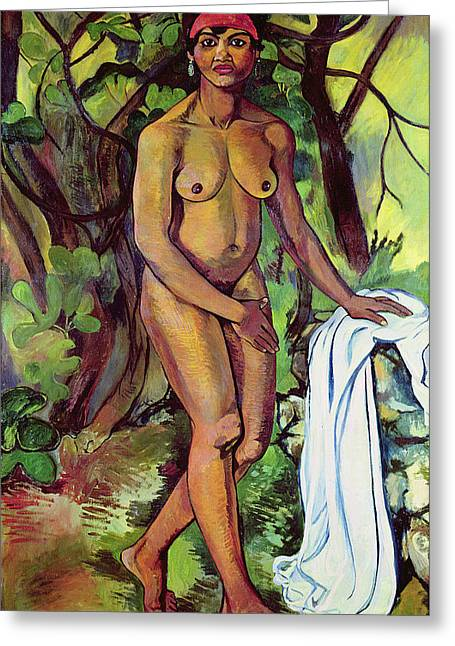 Modesty Greeting Cards - Nude Greeting Card by Marie Clementine Valdon
