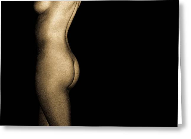 Nude On Black Greeting Card by Bob Orsillo