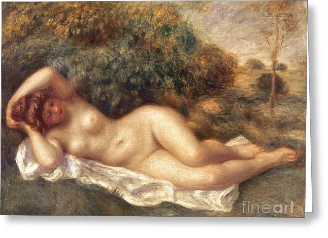 Chest Paintings Greeting Cards - Nude Greeting Card by Pierre Auguste Renoir