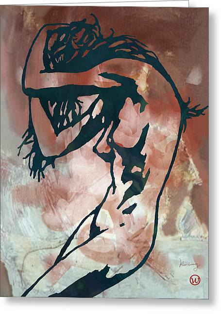 Horns Mixed Media Greeting Cards - Nude - pop art etching style poster  Greeting Card by Kim Wang