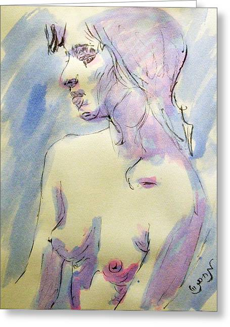 Depression Drawings Greeting Cards - Nude Portrait Drawing Sketch of Young Nude Woman Feeling Sensual Sexy and Lonely Watercolor Acrylic Greeting Card by M Zimmerman