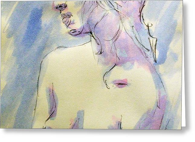 Nude Portrait Drawing Sketch of Young Nude Woman Feeling Sensual Sexy and Lonely Watercolor Acrylic Greeting Card by M Zimmerman