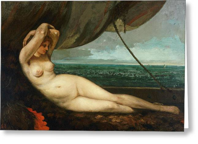 The Sea By Courbet Greeting Cards - Nude reclining by the sea Greeting Card by Gustave Courbet