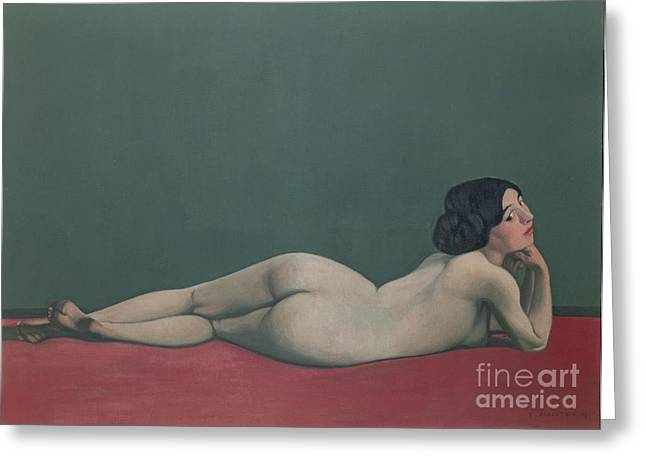 Cloth Greeting Cards - Nude Stretched out on a Piece of Cloth Greeting Card by Felix Edouard Vallotton