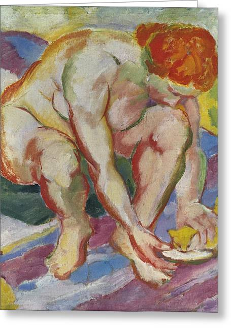 Expressionist Girl Greeting Cards - Nude with Cat Greeting Card by Franz Marc