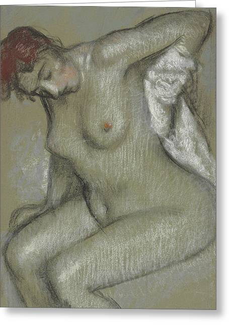 Fantasy Pastels Greeting Cards - Nude Woman Drying Herself Greeting Card by Edgar Degas