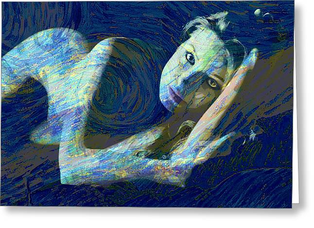 Van Gogh Style Greeting Cards - Nude Woman Reclining Starry Night Blue Greeting Card by Tony Rubino