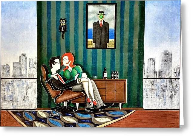 Executive Sitting In Chair With Girl Friday Greeting Card by John Lyes