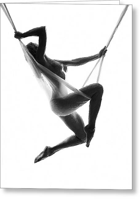 Gray Hair Greeting Cards - Nude Woman Suspended On Silk Black On White Greeting Card by Tony Rubino