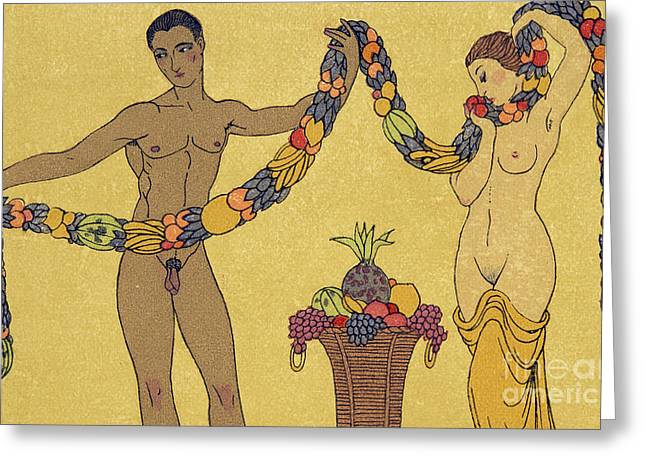 Nudes  Illustration From Les Chansons De Bilitis Greeting Card by Georges Barbier