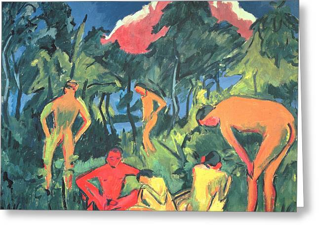 Nudes In The Sun, Moritzburg Greeting Card by Ernst Ludwig Kirchner