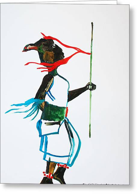 Nuer Dance - South Sudan Greeting Card by Gloria Ssali