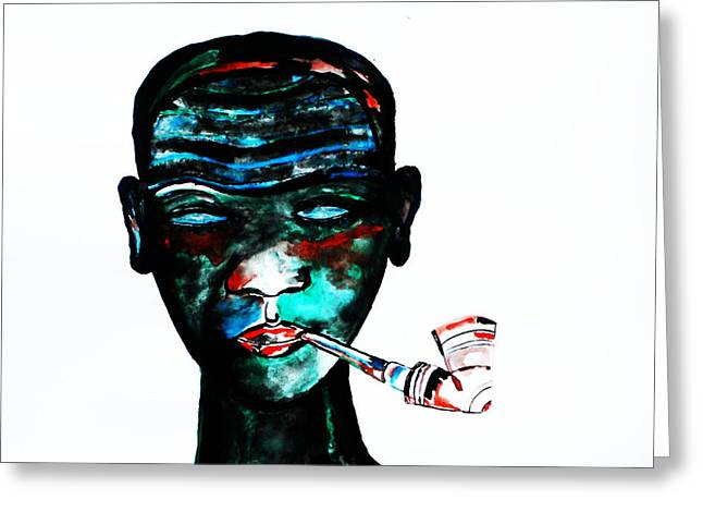 Jesus Mixed Media Greeting Cards - Nuer Lady With Pipe - South Sudan Greeting Card by Gloria Ssali