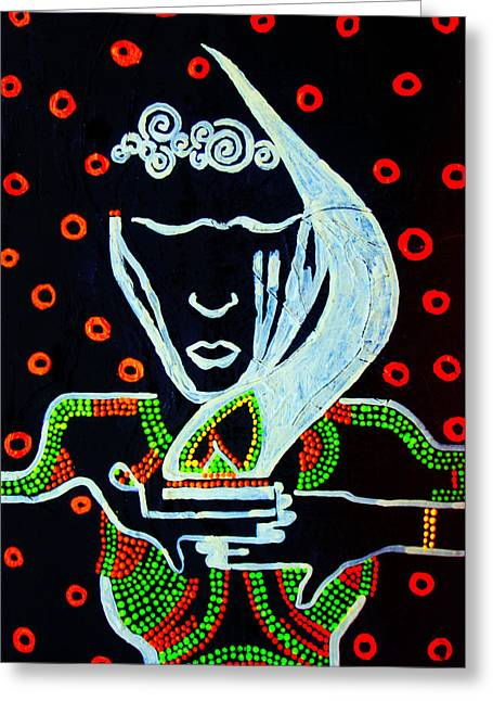 Parable Greeting Cards - Nuer  Wise Virgin Greeting Card by Gloria Ssali