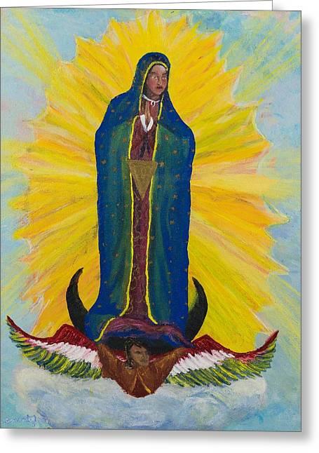 Nuestra Senora De Guadalupe Greeting Cards - Nuestra Senora de Guadalupe 2 - Our Lady Of Guadalupe 2 Greeting Card by Candelario Cervantez