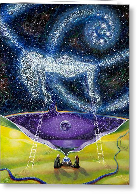 Wiccan Art Greeting Cards - Nuit and the Seven Sisters Greeting Card by Shelley Irish