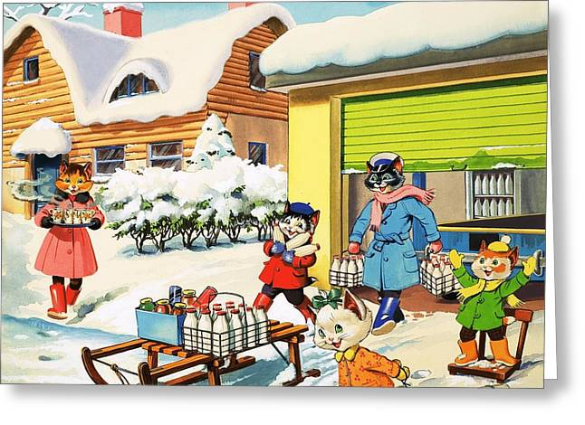 Home Front Greeting Cards - Num Num and his Funny Family Greeting Card by Gordon Hutchings